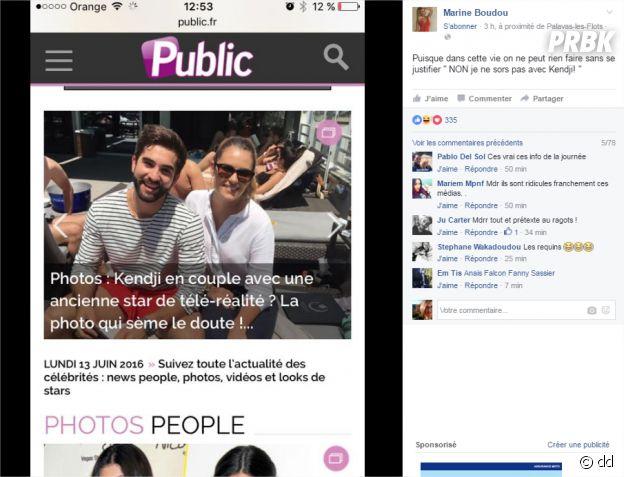 Kendji Girac et Marine Boudou pas en couple : elle dément sur Facebook le 13 juin 2016