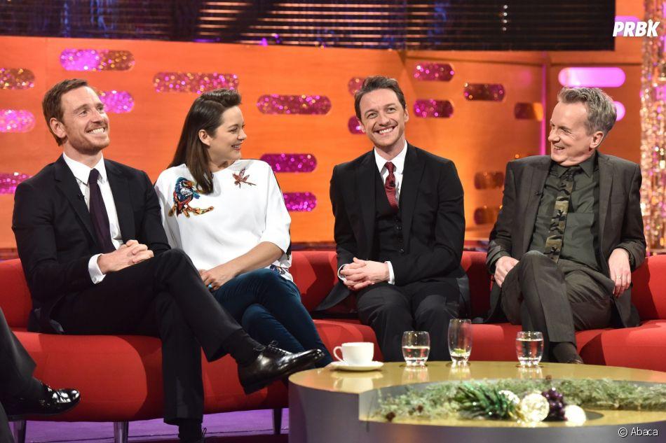 Michael Fassbender, Marion Cotillard, James McAvoy et Frank Skinner dans le Graham Norton Show le 8 décembre 2016