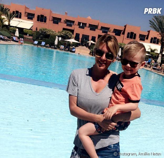Amélie Neten et son fils Hugo en vacances