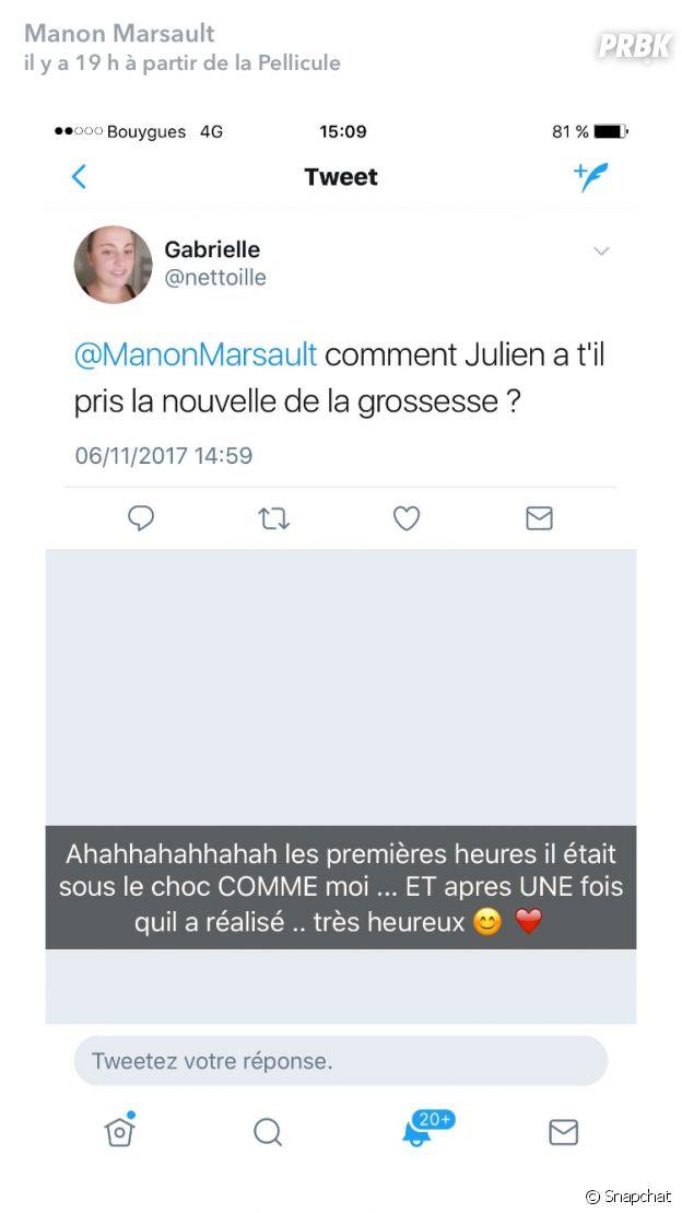 Manon Marsault révèle la réaction de Julien Tanti à l'annonce de sa grossesse