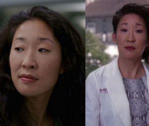 Sandra Oh (Cristina) lors de sa première apparition dans Grey's Anatomy VS lors de sa dernière apparition