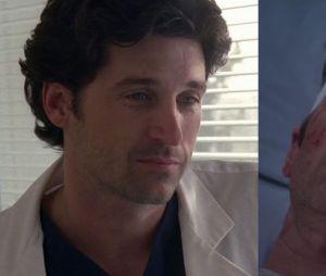 Patrick Dempsey (Derek) lors de sa première apparition dans Grey's Anatomy VS lors de sa dernière apparition
