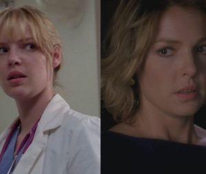 Katherine Heigl (Izzie) lors de sa première apparition dans Grey's Anatomy VS lors de sa dernière apparition