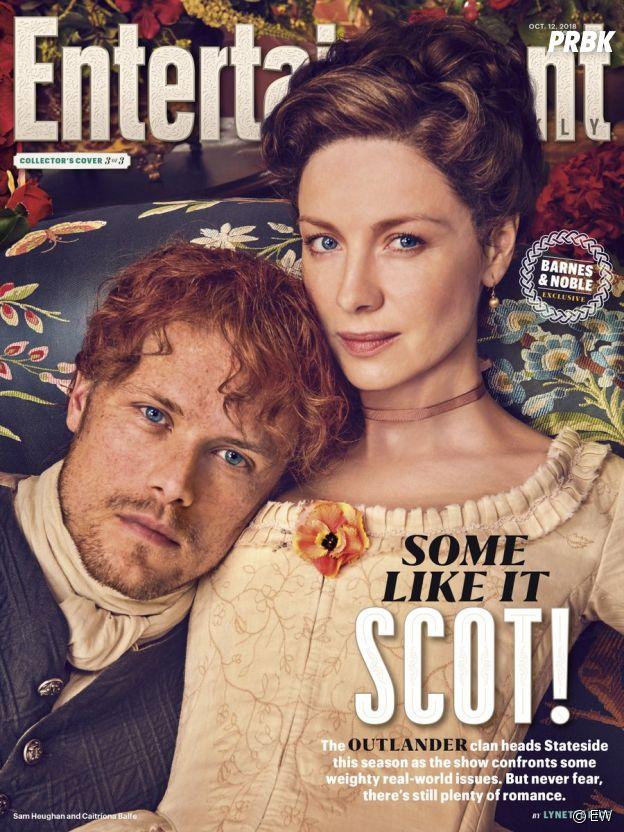 Outlander saison 4 : Sam Heughan et Caitriona Balfe en couverture de Entertainment Weekly