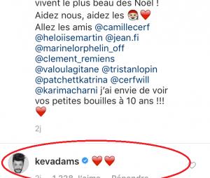 Iris Mittenaere répond au challenge de Kev Adams sur Instagram, il lui envoie deux émojis coeurs.