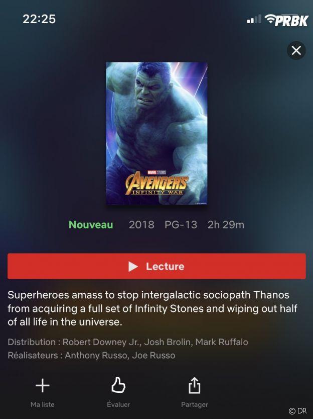 Avengers 3 : la description du film sur Netflix a énervé certains fans