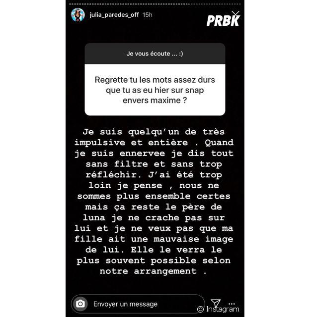 Julia Paredes se confie sur sa rupture avec Maxime Parisi