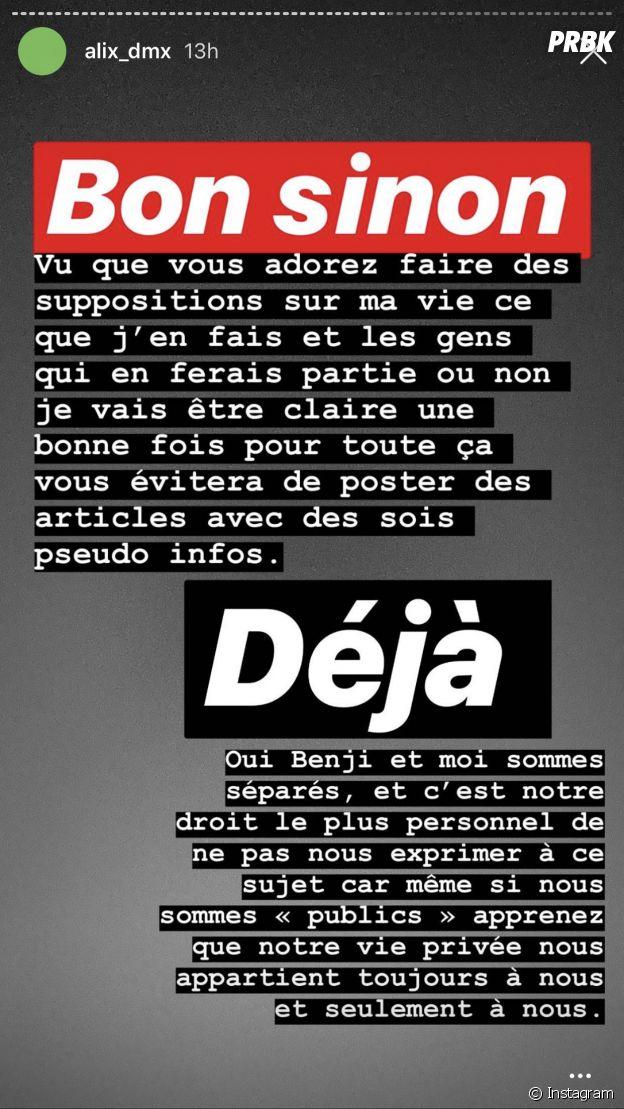 Alix (Les Marseillais) confirme sa rupture avec Benjamin Samat