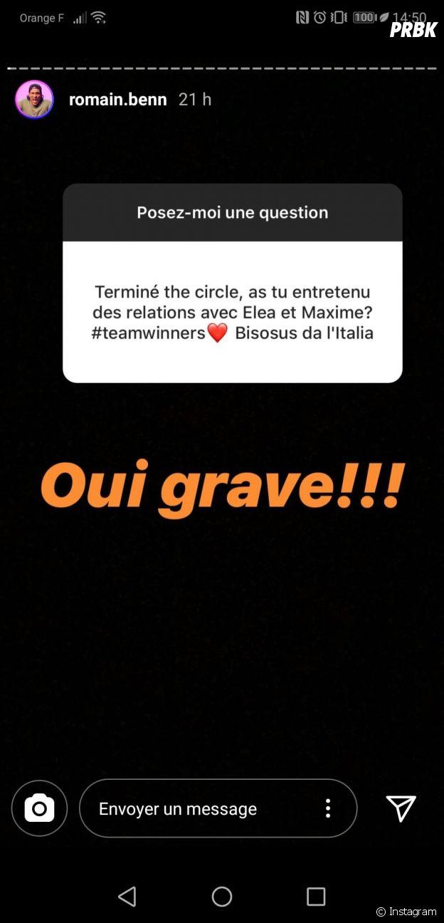 The Circle Game France : Romain, Elea et Valéria/Maxime toujours en contact depuis la fin du jeu ?