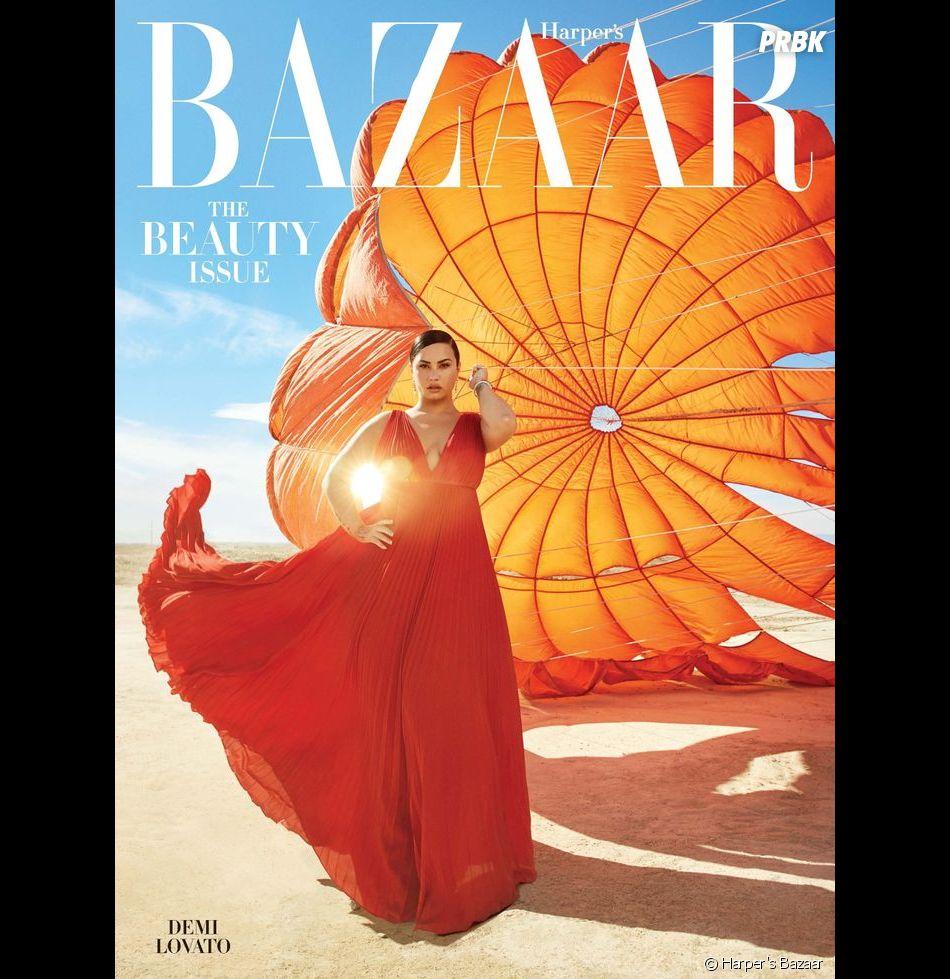 Demi Lovato en couverture de Harper's Bazaar en avril 2020