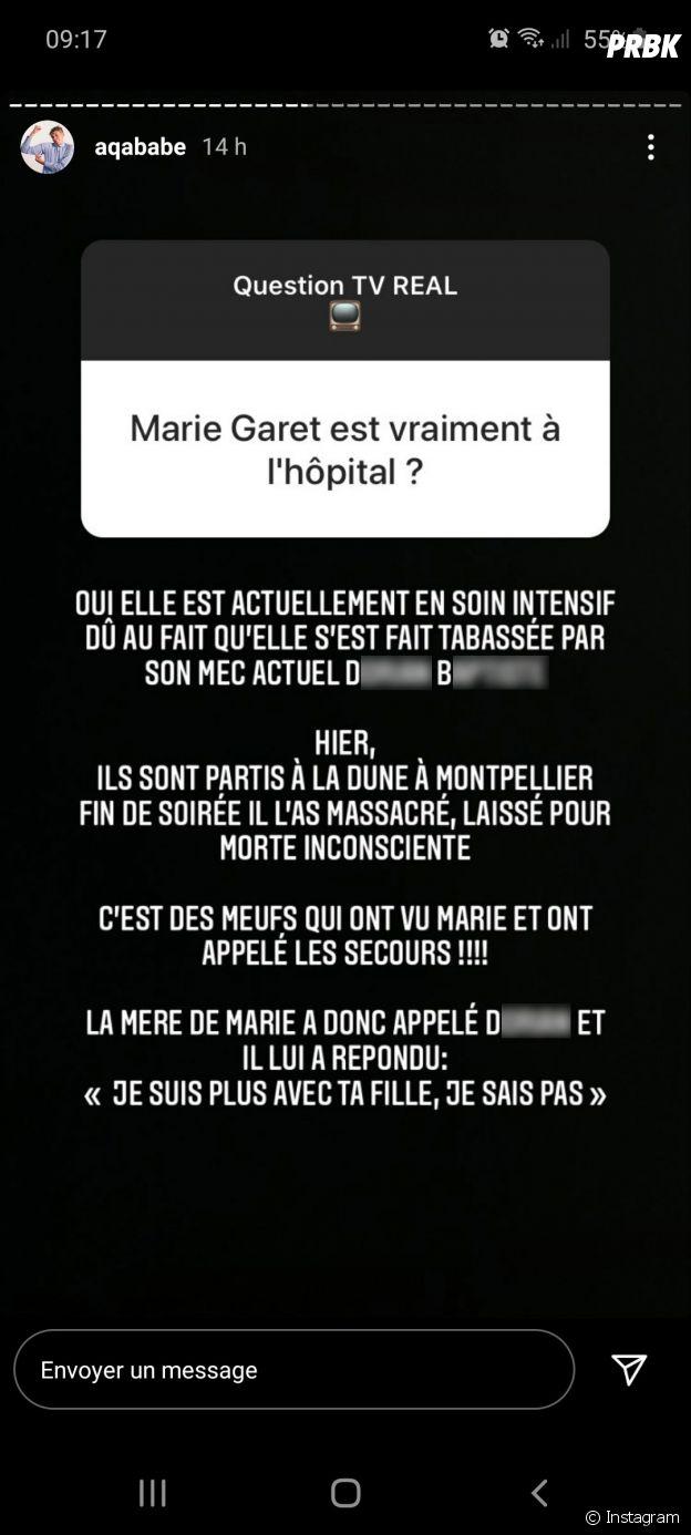 Marie Garet aurait été victime de violences conjugales selon Aqababe