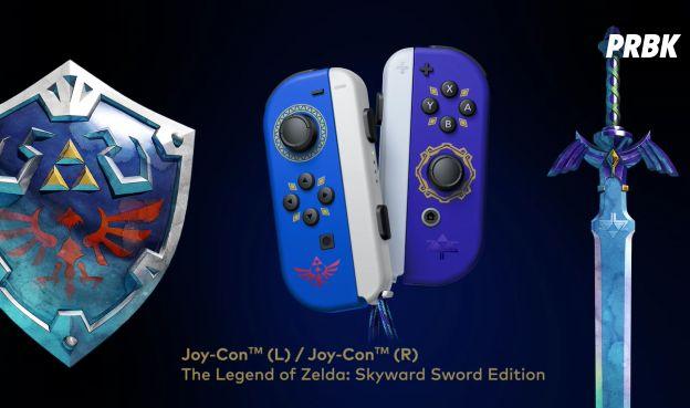 The Legend of Zelda : Skyward Sword HD : les Joy-Con aux couleurs de l'épée de légende et du bouclier d'Hylia