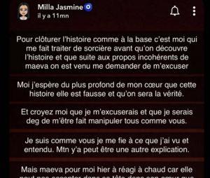 Milla Jasmine prend la défense de Manon Marsault et Julien Tanti