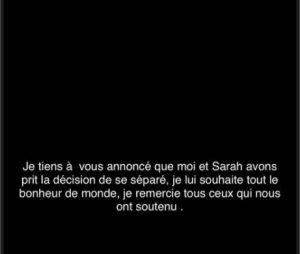 Ahmed confirme son divorce avec Sarah Fraisou sur Instagram