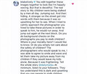 Blake Lively pousse un coup de gueule contre les paparazzi dans un message sur Instagram