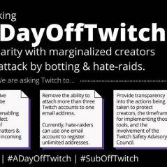 #ADayOffTwitch : des streamers boycottent Twitch pour lutter contre le harcèlement et la haine
