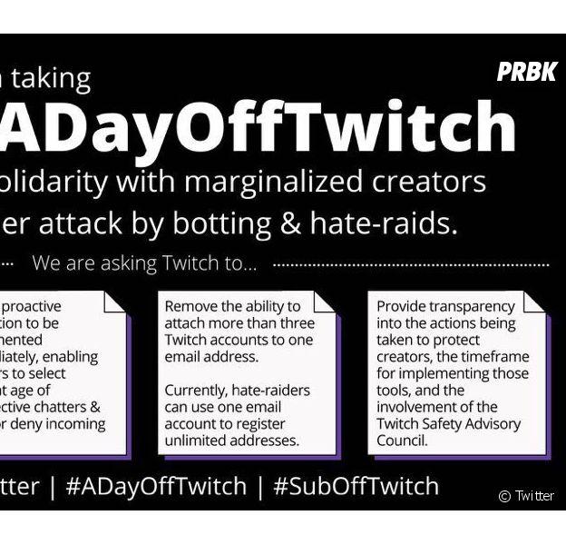 #ADayOffTwitch : de nombreux streamers boycottent Twitch pour lutter contre le harcèlement et la haine