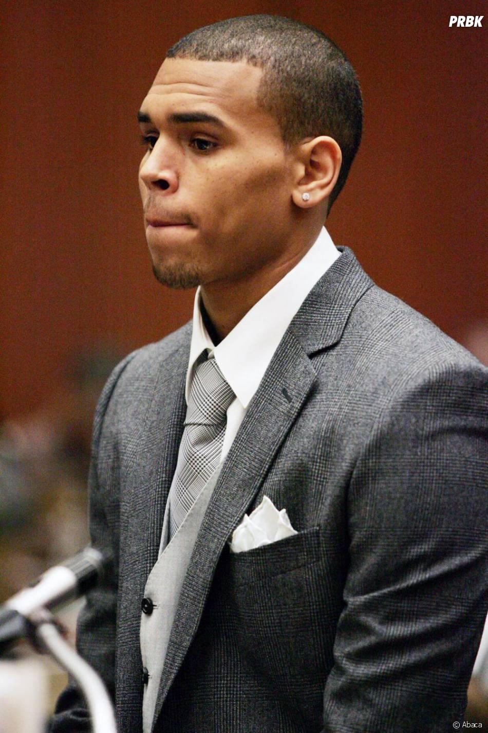 Chris Brown lors de son procès pour coup et blessures contre Rihanna en 2009