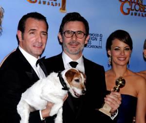 Berenice Bejo, Jean Dujardin et Michel Hazanavicius aux Golden Globes 2012