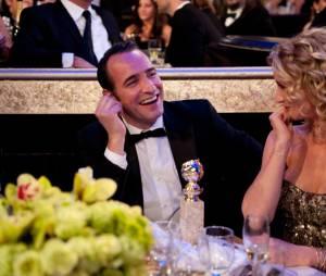 Jean Dujardin et Alexandra Lamy à table aux Golden Globes 2012.