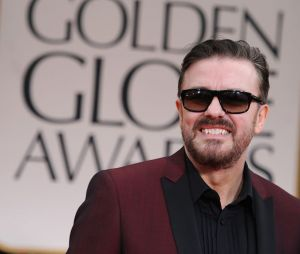 Ricky Gervais sur le tapis rouge des Golden Globes 2012