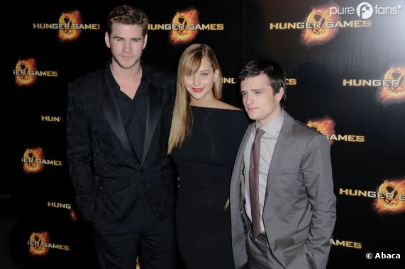 Jennifer Lawrence, Josh Hutcherson et Liam Hemsworth à Paris