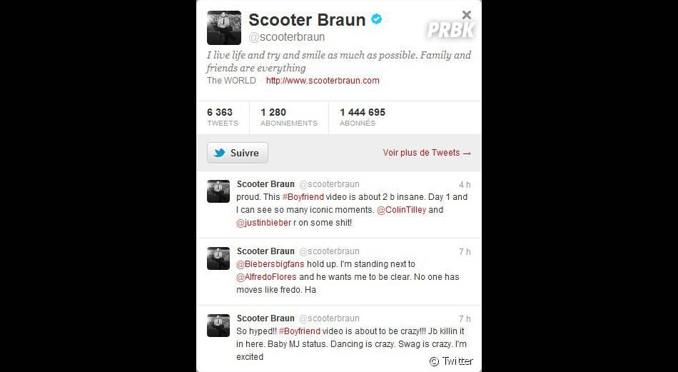 Scooter Braun est tout feu, tout flamme sur le tournage du clip de Justin Bieber !