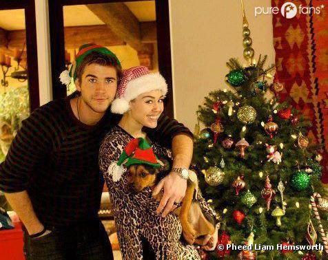 Miley Cyrus et Liam Hemsworth posent pour fêter Noël