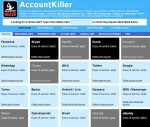 AccountKiller classe les sites web sur liste noire, grise ou blanche