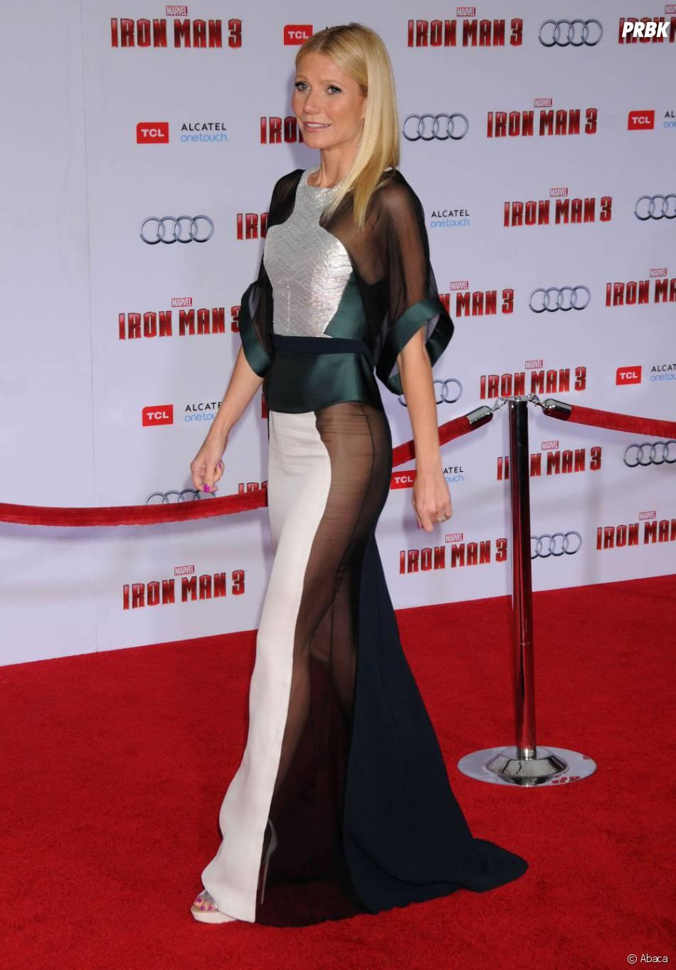 Gwyneth Paltrow en transparence à l'avant-première d'Iron Man 3 le 24 avril 2013