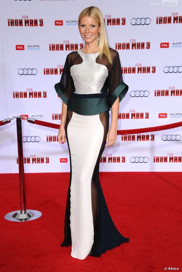 Gwyneth Paltrow a fait sensation sur le tapis rouge d'Iron Man 3 avec une robe transparente