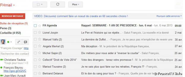 France TV info a imaginé la boîte mails de François Hollande