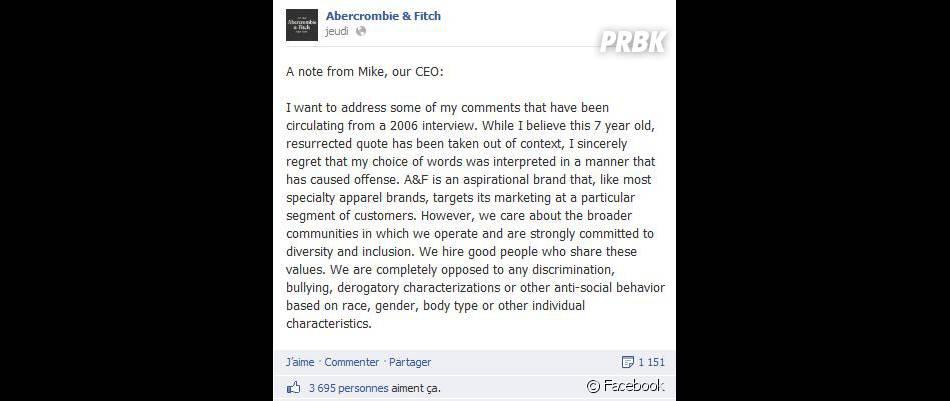Mike Jeffries le PDG d'Abercrombie & Fitch s'explique sur Facebook