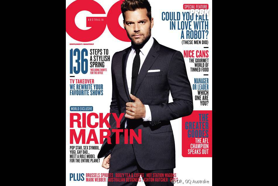 Ricky Martin en Une de GQ Australie pour le mois d'octobre 2013