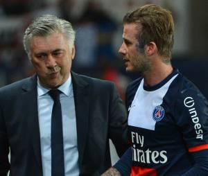 Carlo Ancelotti et David Beckham, le 18 mai 2013 au Parc des Princes