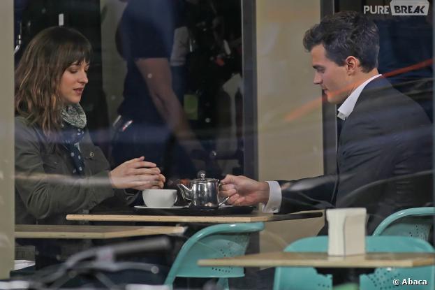 Fifty Shades Of Grey : Dakota Johnson aka Anastasia Steele et Jamie Dornan aka Christian Grey sur le tournage