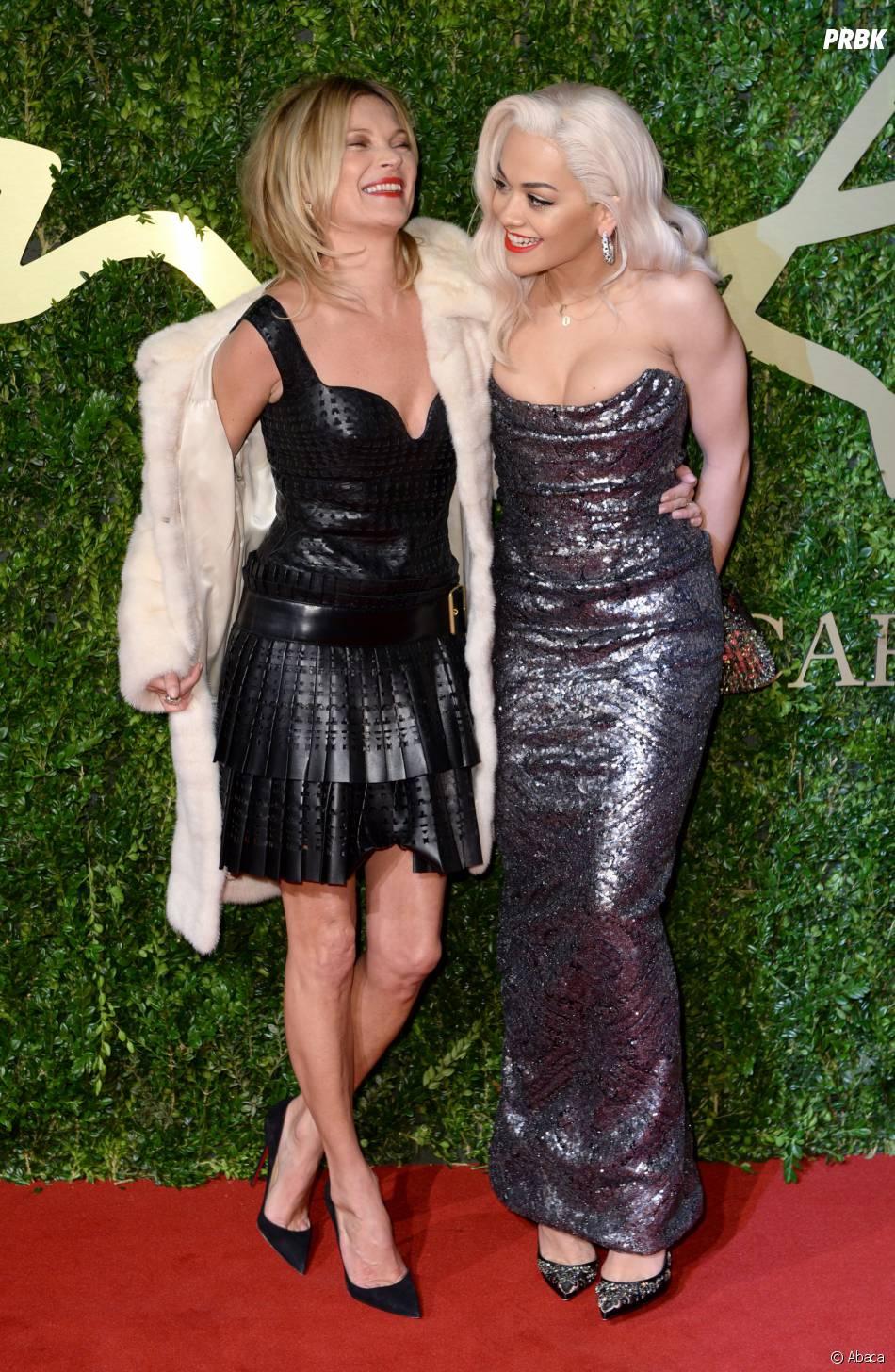 Kate Moss et Rita Ora aux British Fashion Awards à Londres, le 2 décembre 2013