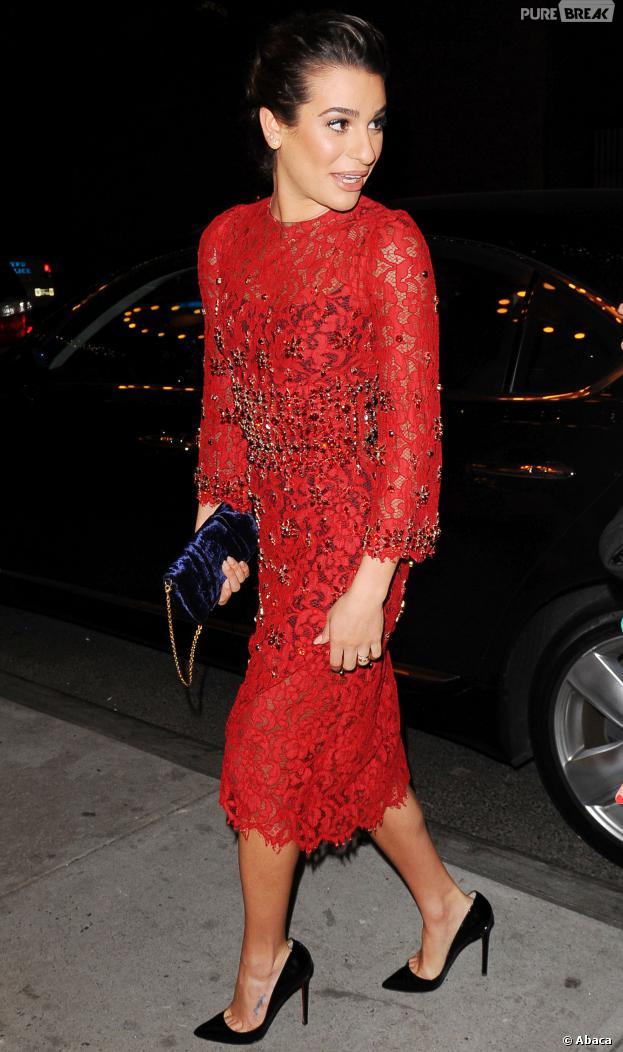 Lea Michele : robe en dentelle à New York, le 3 décembre 2013