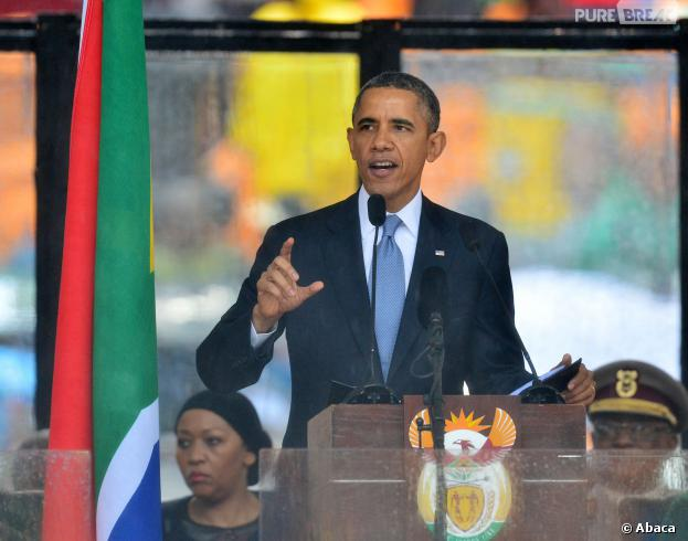 Barack Obama, Bill Clinton, George Bush, Bono... lors de la cérémonie d'hommage à Nelson Mandela, au Stade de Soweto en Afrique du Sud, le 10 décembre 2013