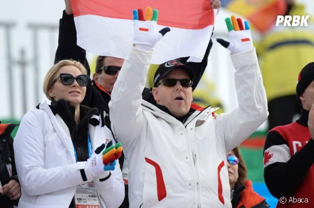JO Sotchi 2014 : le Prince Albert de Monaco et Charlène, supporters motivés