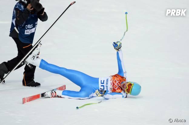 JO Sotchi 2014 : Christof Innerhofer au bout de l'effort après sa médaille d'argent en ski alpin