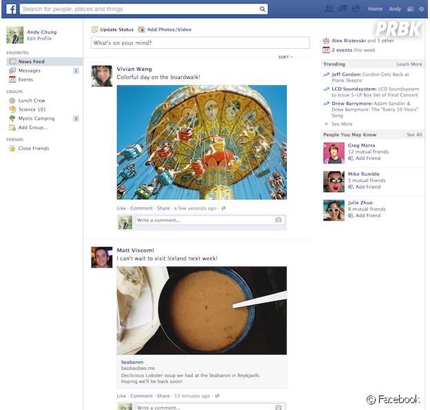 Facebook : l'ancien design du fil d'actualité