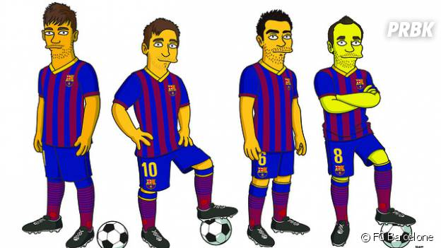 "(de gauche à droite) Neymar, Messi, Xavi et Iniesta en mode ""Simpson"""