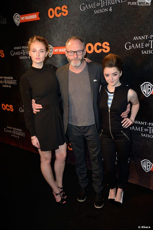 Game of Thrones : Sophie Turner, Liam Cunningham et Maisie Williams à l'avant-première de la saison 4 à Paris le 2 avril 2014