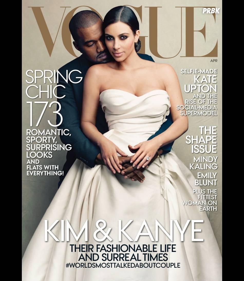 Kim Kardashian et Kanye West en Une de Vogue US, numéro d'avril 2014