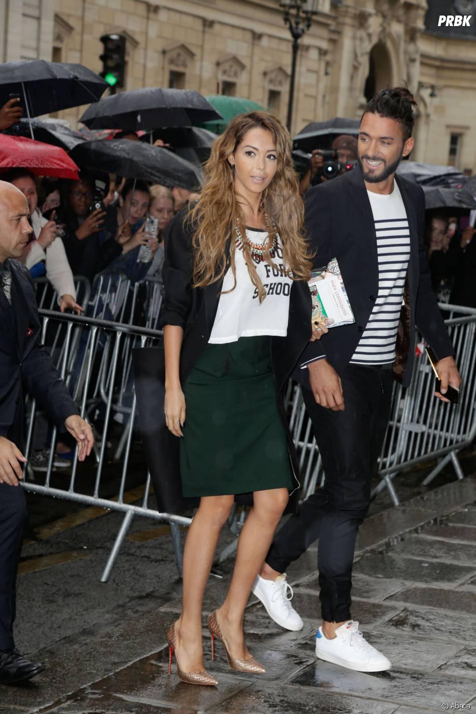 Nabilla Benattia et Thomas Vergara avant le défilé Haute Couture automne-hiver 2014/2015 de Jean-Paul Gaultier, le 9 juillet 2014