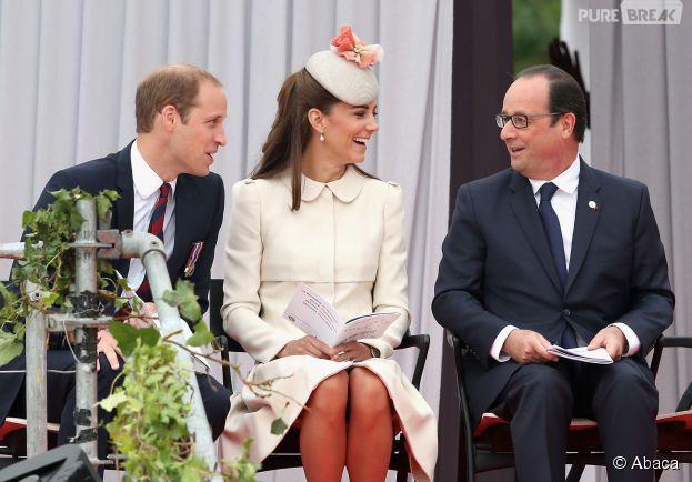 Le Prince William, Kate Middleton et le président François Hollandelors de la cérémonie de commémoration du 100e anniversaire de la Première Guerre Mondiale, le 4 juillet à Liège en Belgique