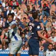 Brandao et Thiago Motta au Parc des Princes le 16 août 2014, pendant le match PSG VS Bastia