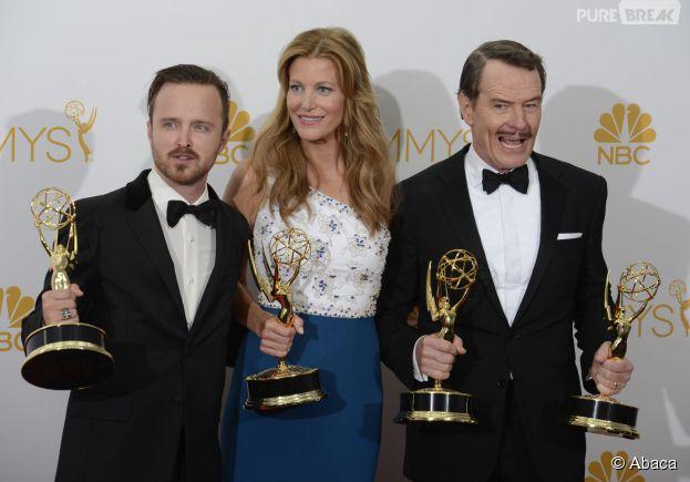 Aaron Paul, Anna Gunn et Bryan Cranston aux Emmy Awards, le 25 août 2014