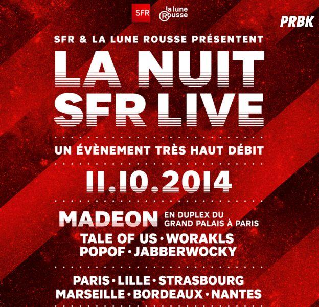Nuit SFR Live : le line-up complet des concerts organisés dans toute la France le samedi 11 octobre 2014, de 22h à 6h